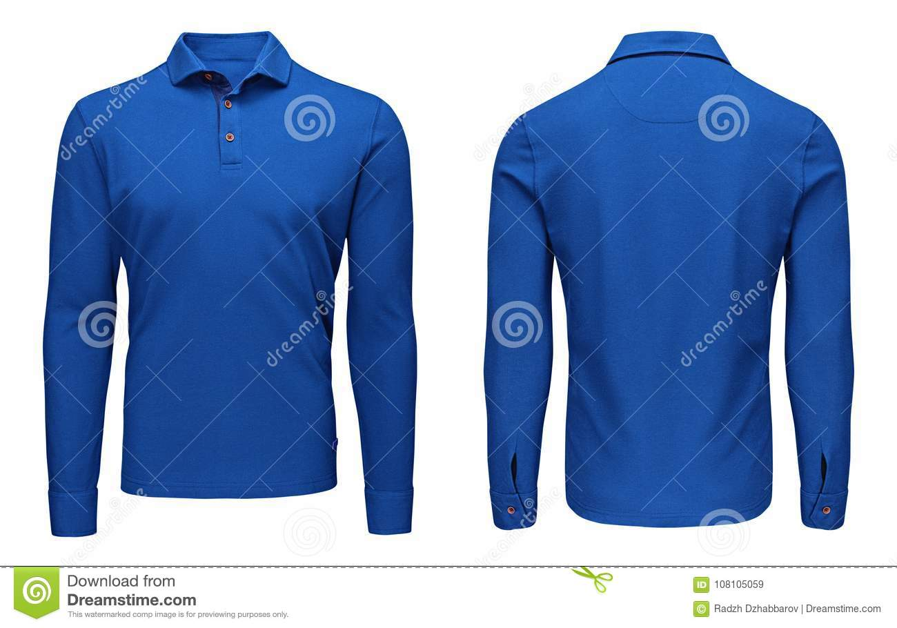 d3e5980b1796 Blank template mens blue polo shirt long sleeve, front and back view, white  background. Design sweatshirt mockup for print.