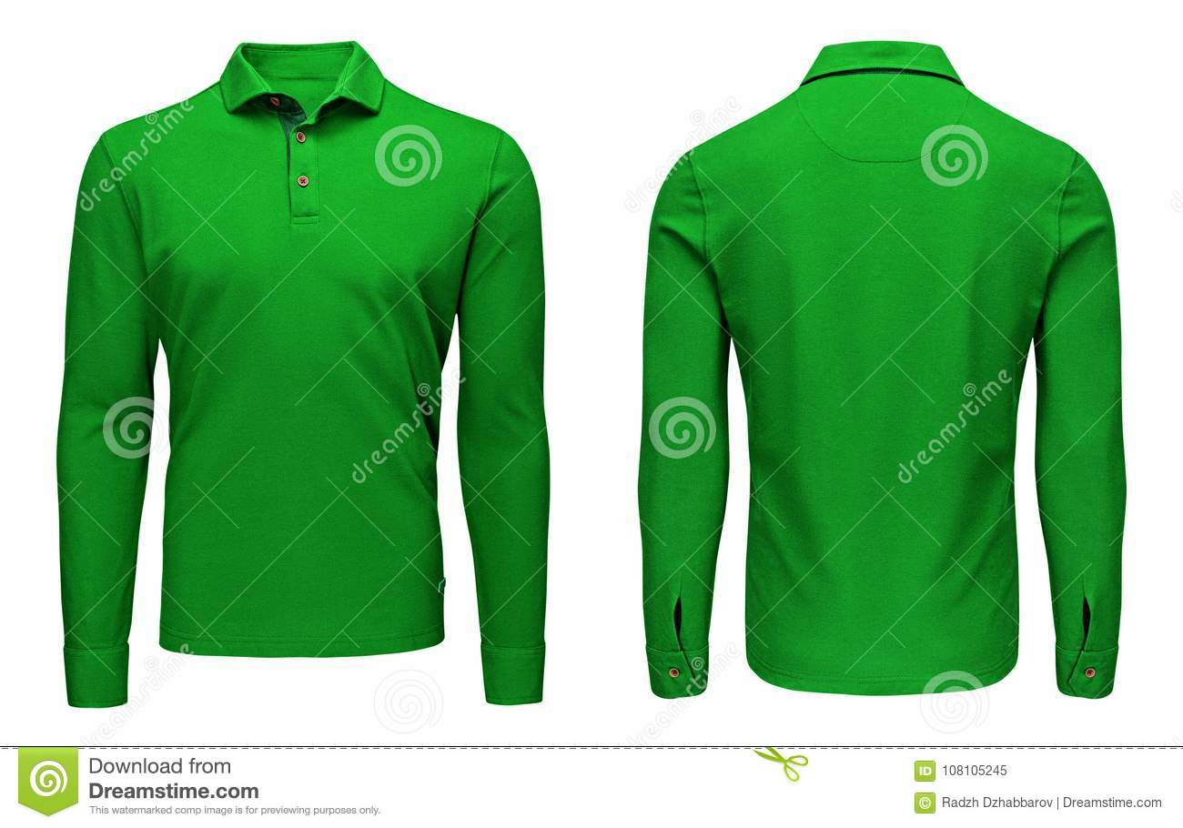 Blank Template Mens Green Polo Shirt Long Sleeve Front And Back