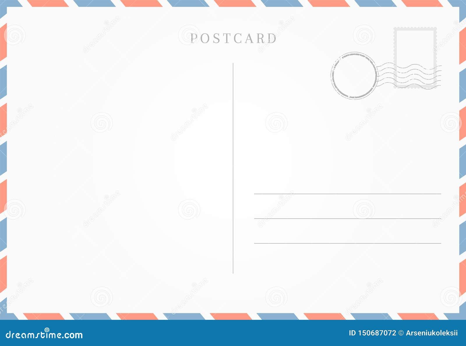 blank template of postcard backside stock vector