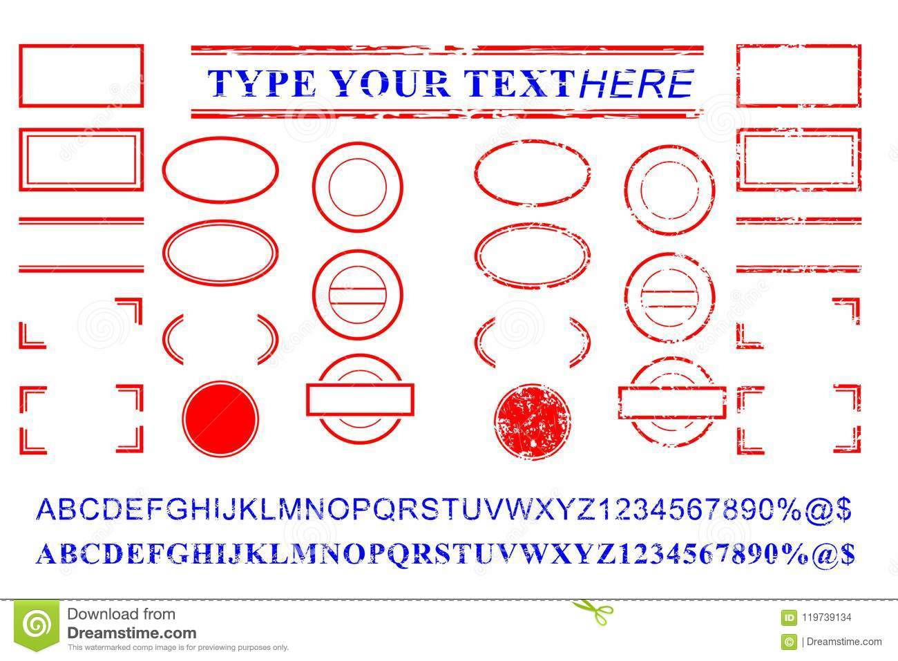 Blank Template Red And Blue Alphabet, Number, Percent
