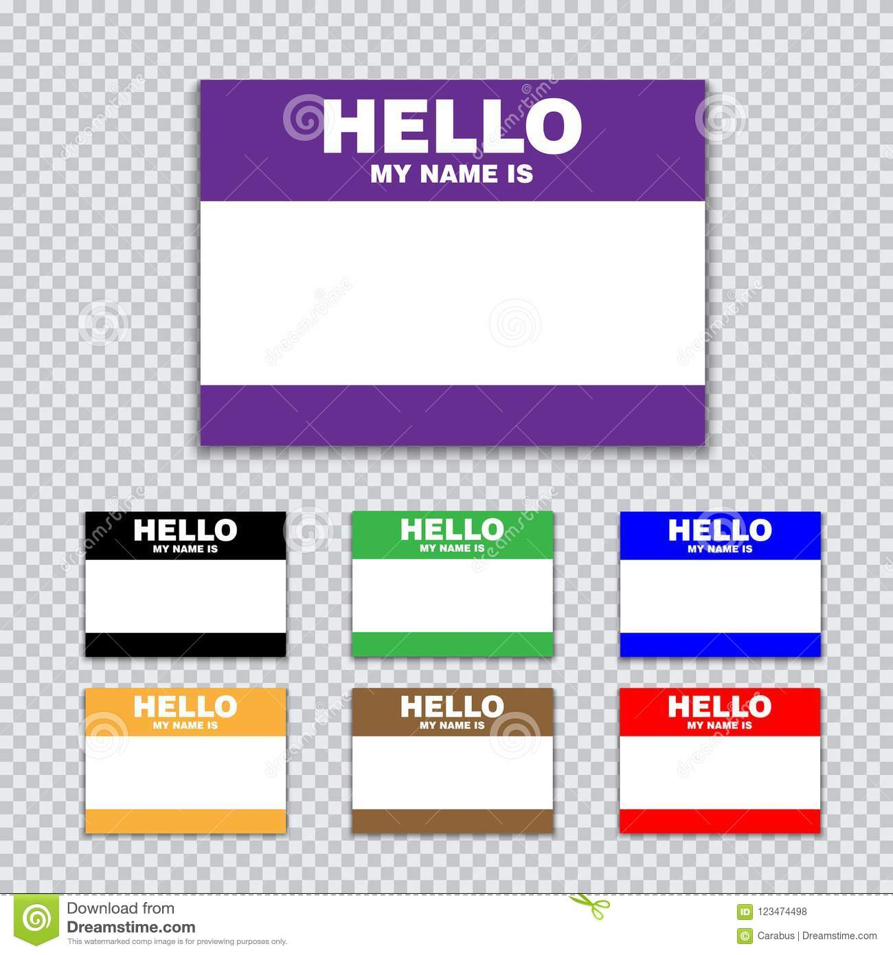 blank template tag my name is set of color blank stickers white