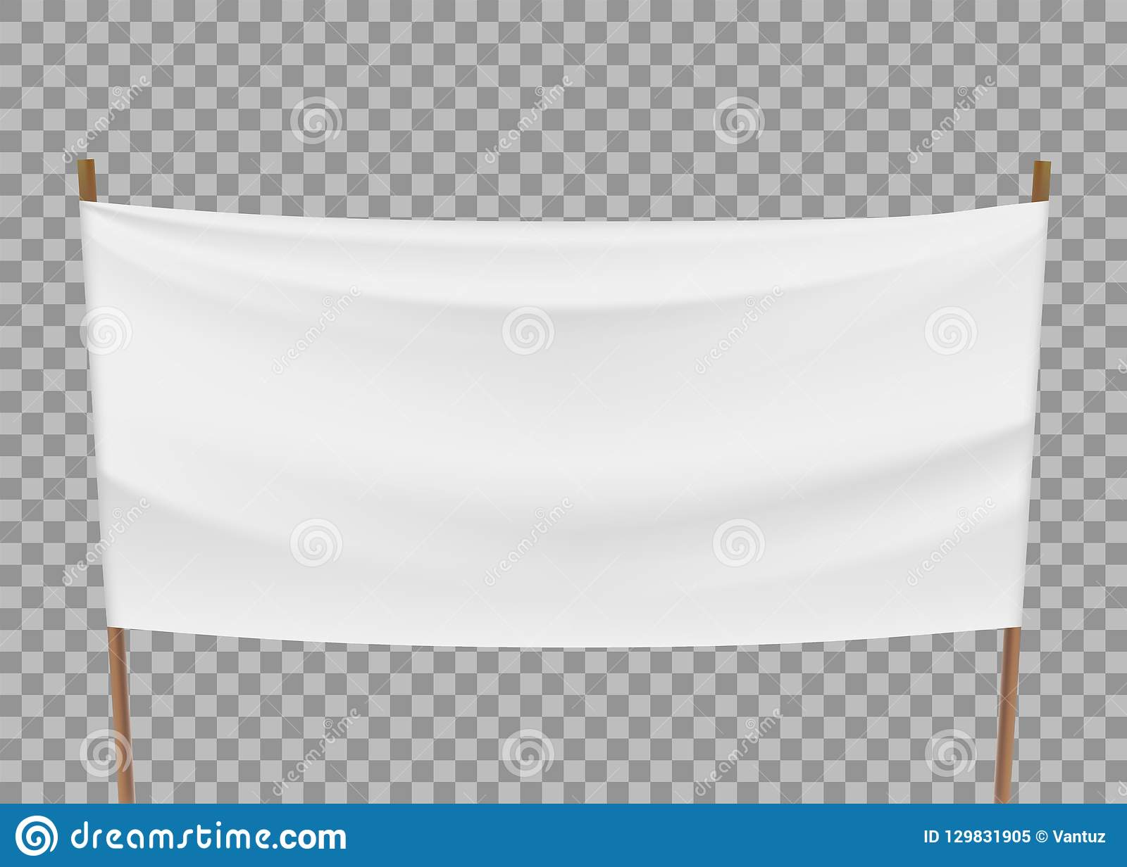 Blank Template Of White Banner Isolated On A Transparent