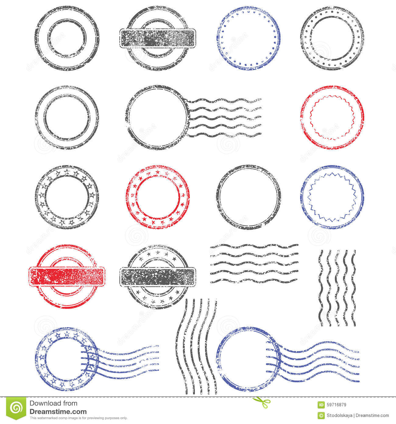Blank Templates Of Shabby Postal Stamps Stock Vector