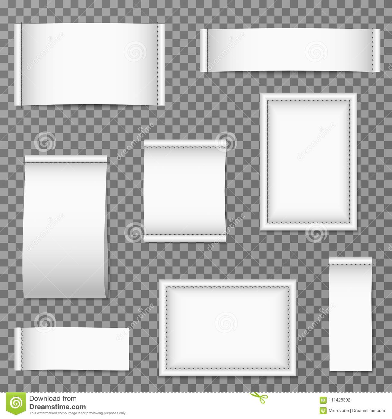 Blank Textile Clothing Labels Isolated Vector Set Stock Vector ...