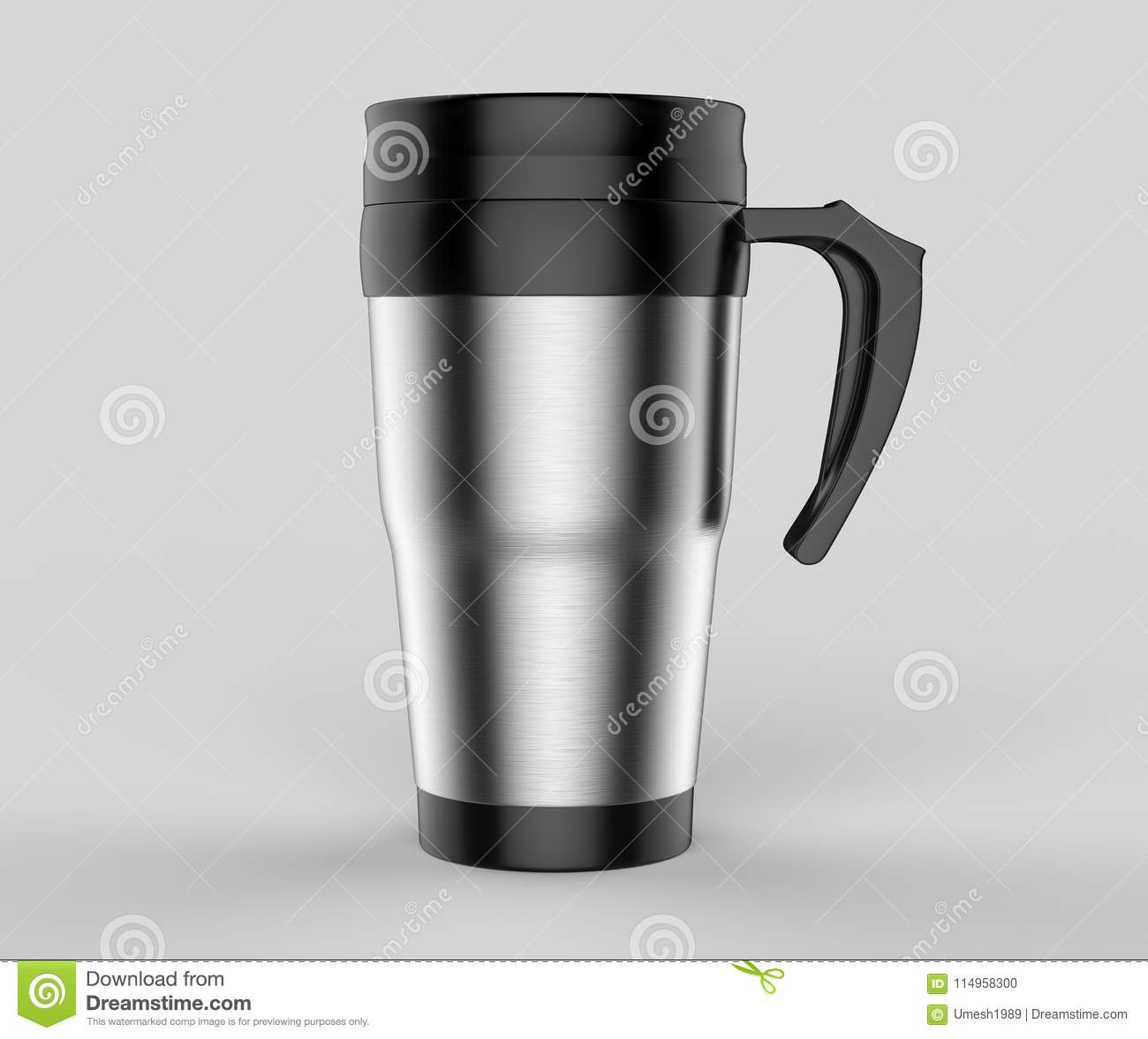 Blank Thermos Travel Tumbler Mug For Design Presentation Or Mock Up Design 3d Render Illustration Stock Illustration Illustration Of Mock Chrome 114958300