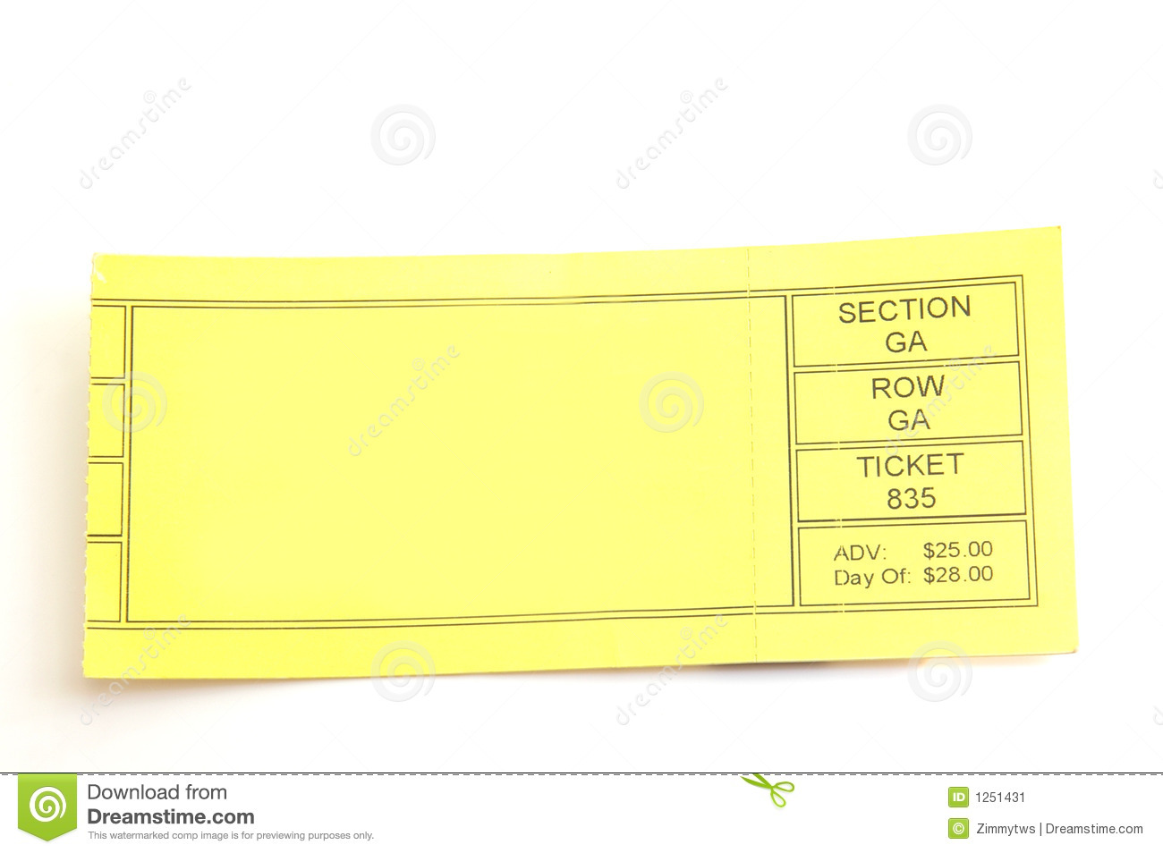 Blank Ticket Stock Image Image Of Ticket Purchase Commerce 1251431