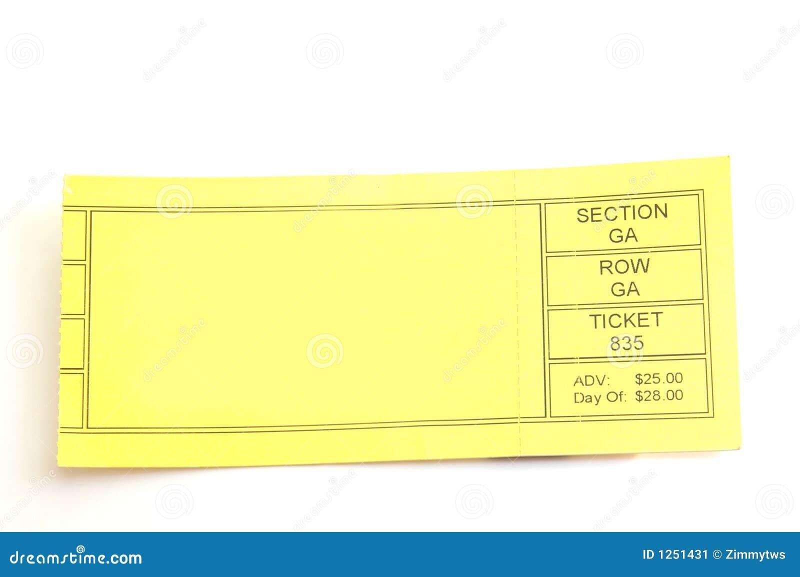 blank ticket stub ticket stub with blank space