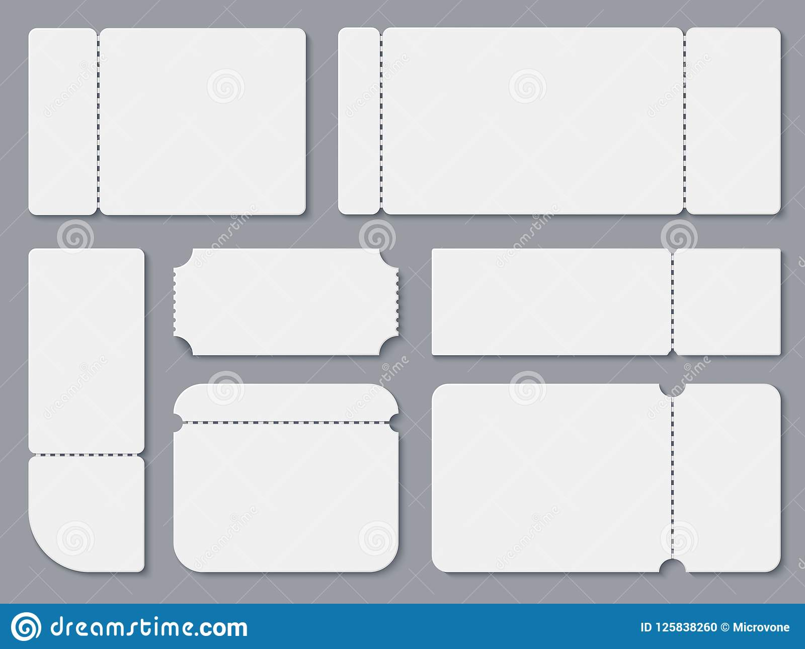 blank tickets  white theater and cinema ticket mockup