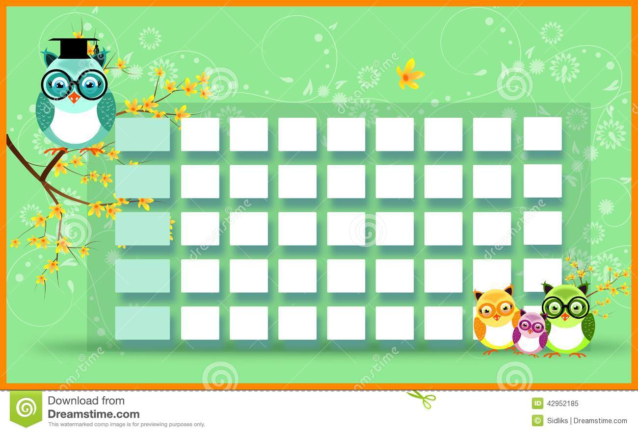 Blank Timetable With Owls Stock Illustration - Image: 42952185