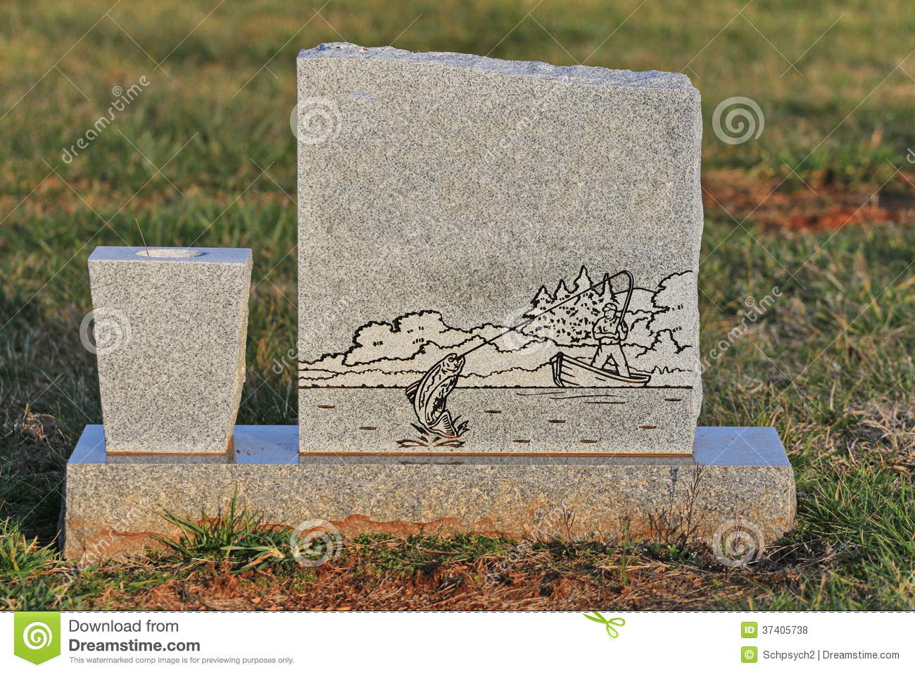 blank tombstone with engraved fisherman stock photo