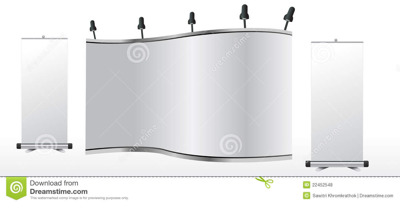 Exhibition Stand Roll Up : Blank trade exhibition stand and roll up royalty free