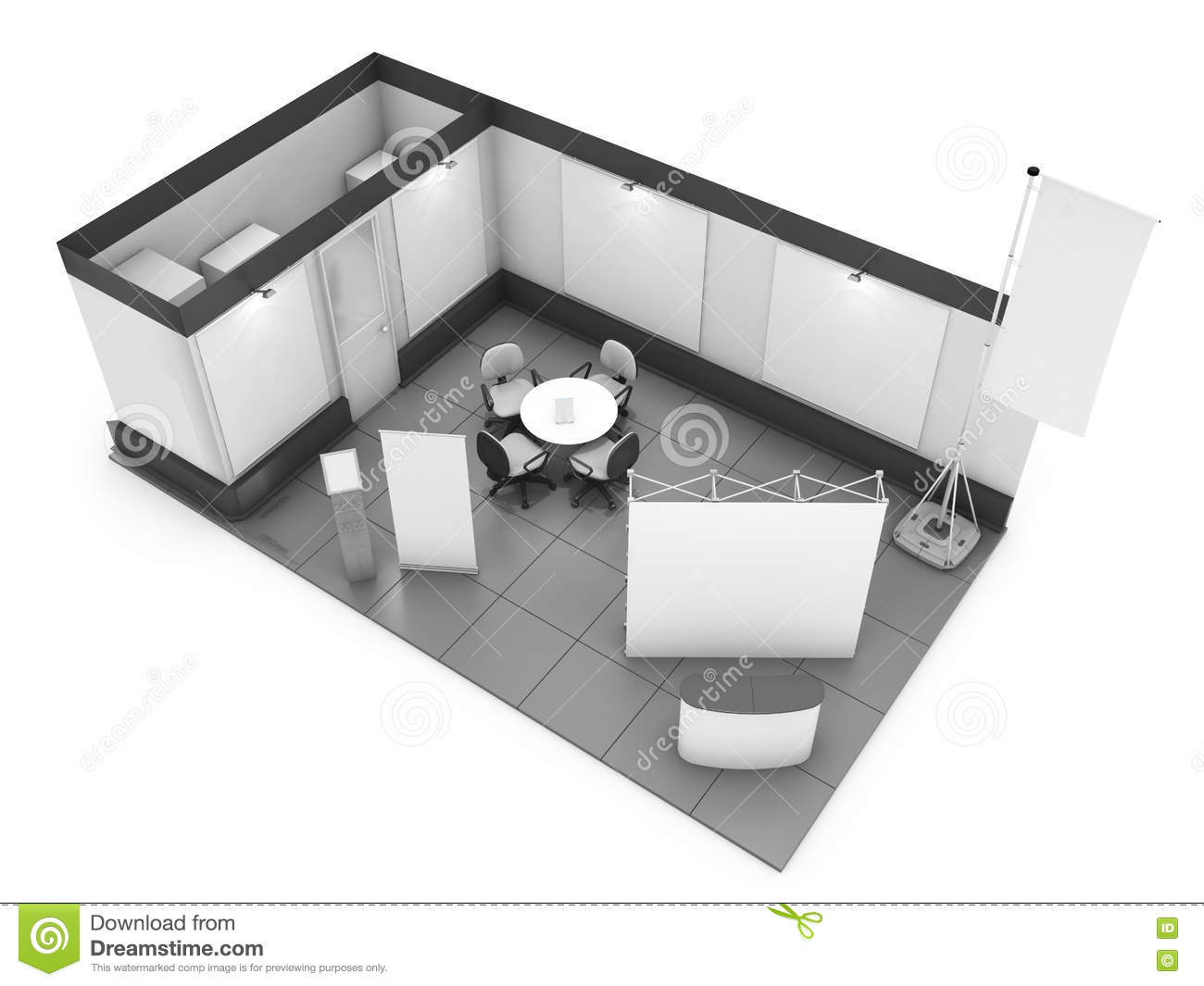 Exhibition Stall Design Vector Free Download : Blank trade show booth mock up d rendering stock