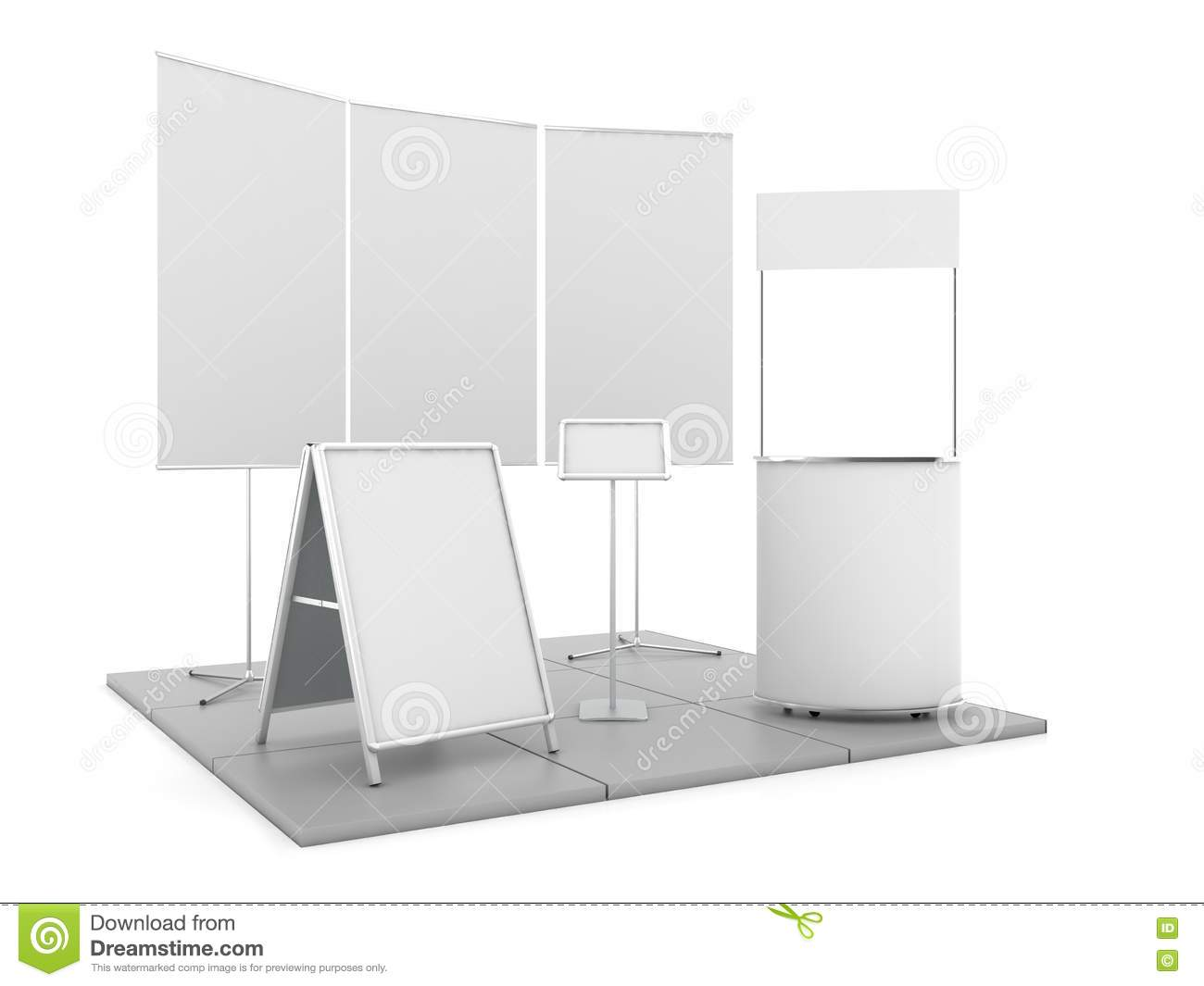 Blank Trade Show Booth Mock Up  3D Rendering Stock Illustration