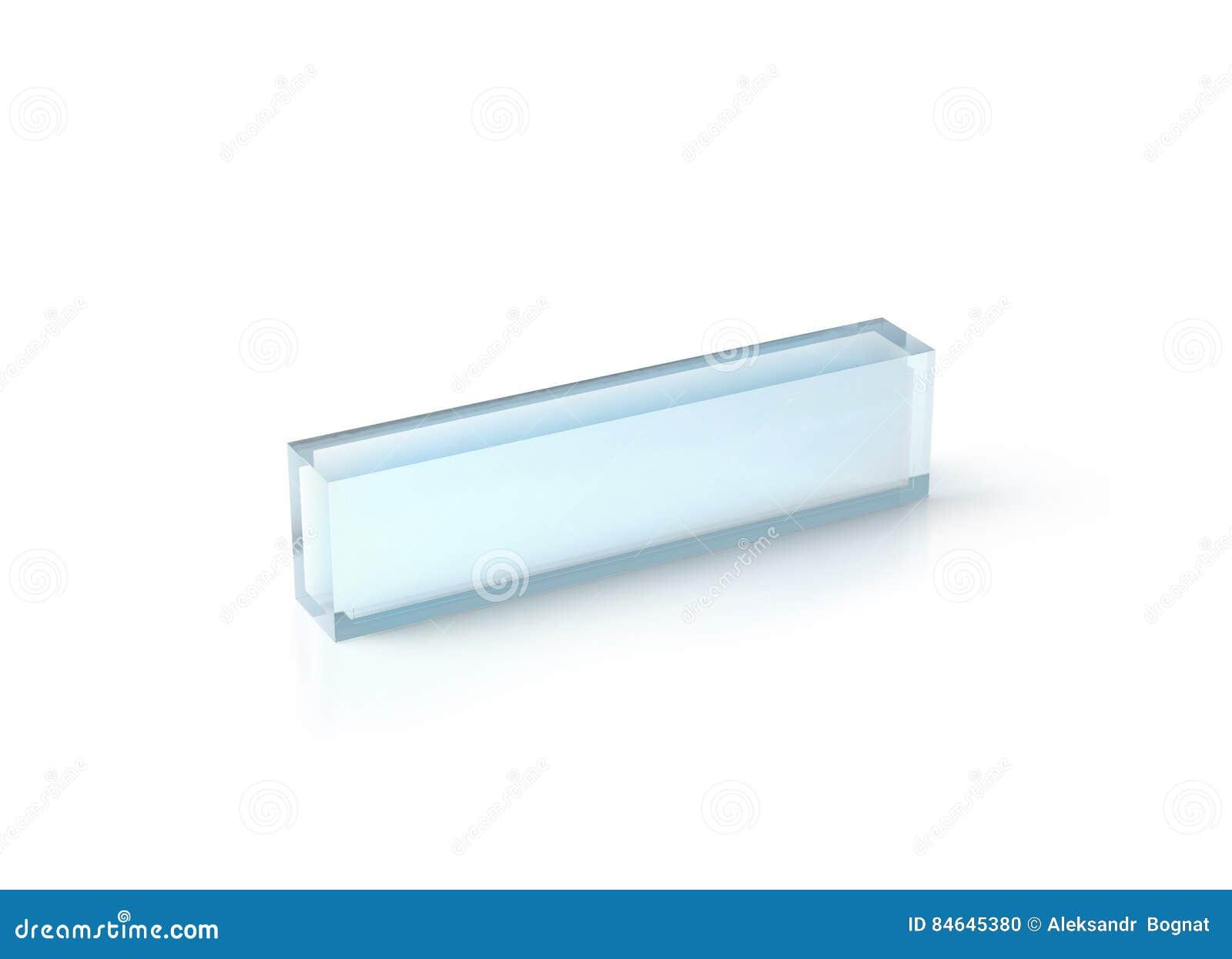 Blank Transparent Acrylic Desk Block Mockup Stock Photo