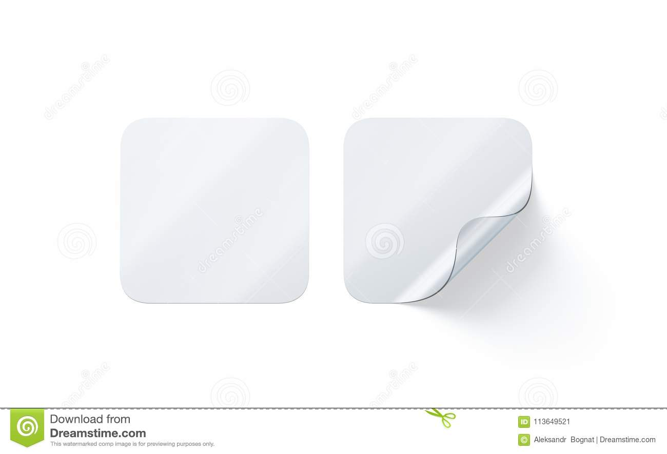 Blank Transparent Square Adhesive Stickers Mock Up With Curved Corner Stock Illustration