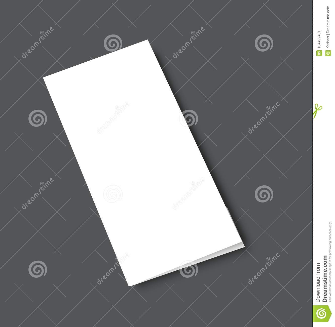 Blank tri fold brochure mock up portrait cover. Isolated