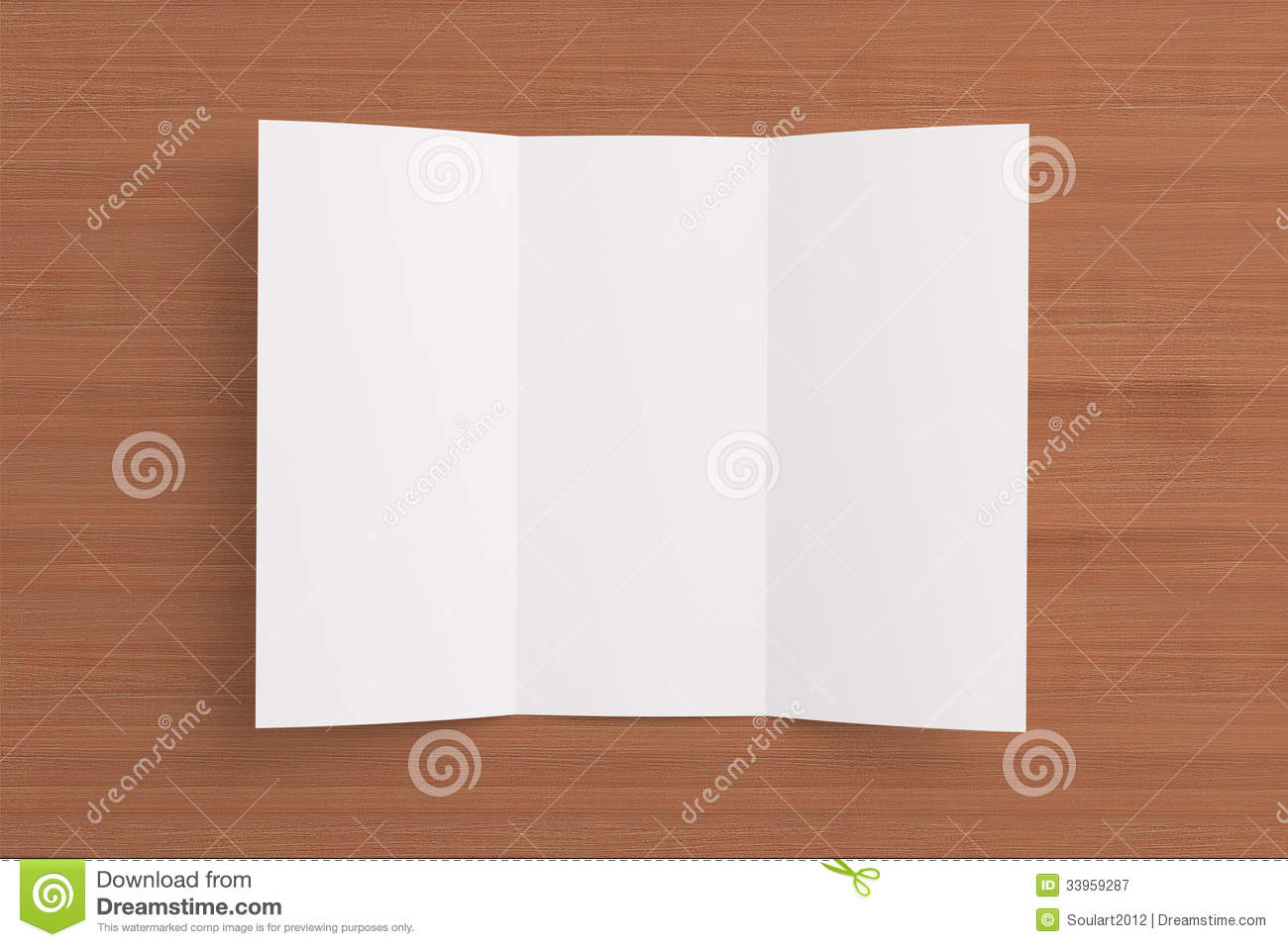 Blank Tri Fold Brochure On Wooden Background Royalty Free Stock ...