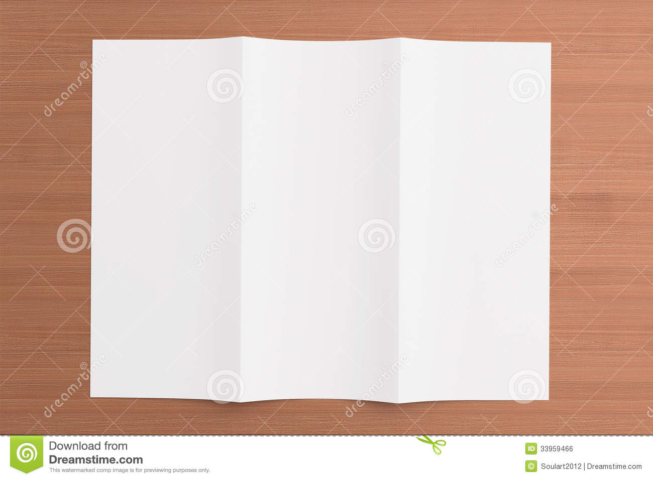Blank tri fold brochure on wooden background stock photo for Blank tri fold brochure template free download