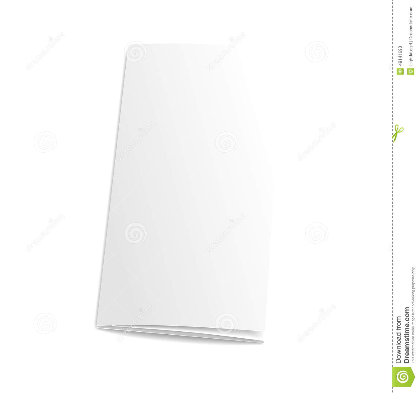 blank trifold paper brochure on white background stock vector