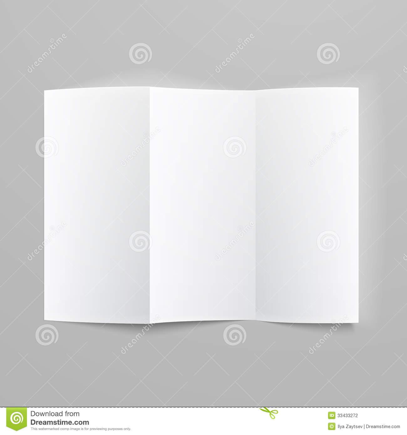 Blank Trifold Paper Z-folded Brochure. Stock Photography - Image ...