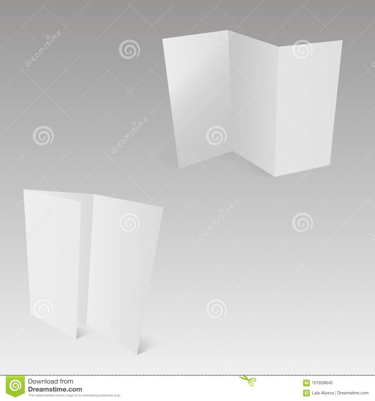 blank trifold white template paper with soft shadows vector stock