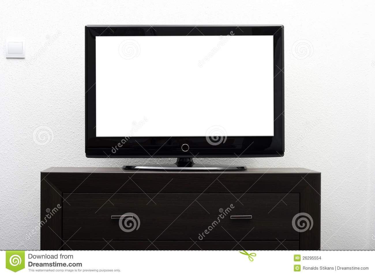 Blank Tv Screen On Brown Commode Stock Photo Image Of Cinema  # Commode Tv But