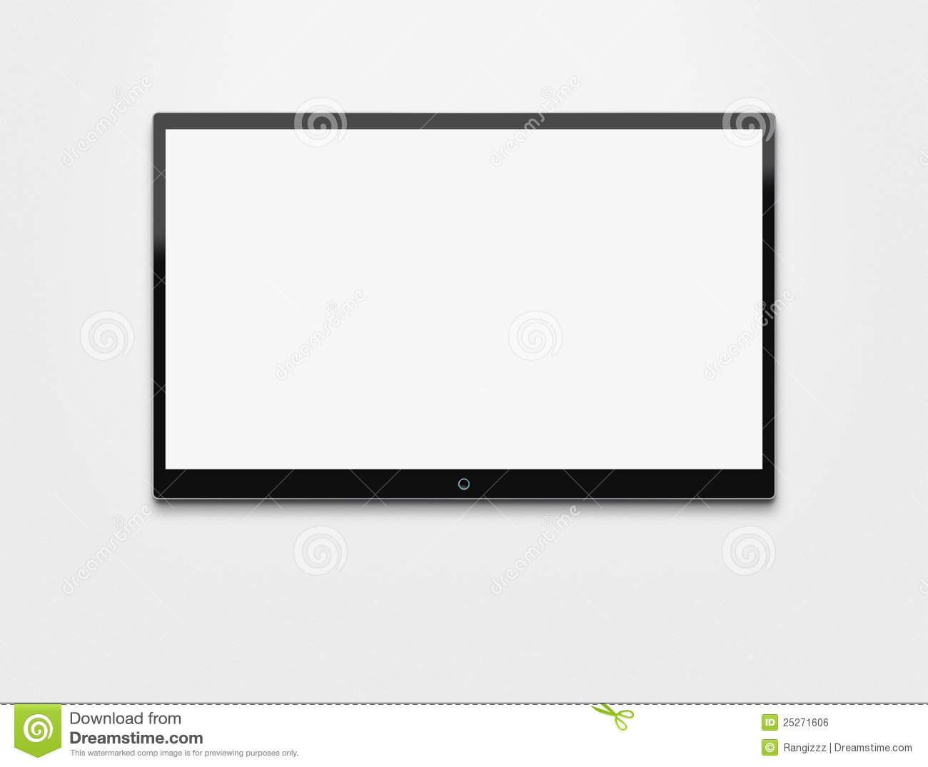 Blank TV at the wall