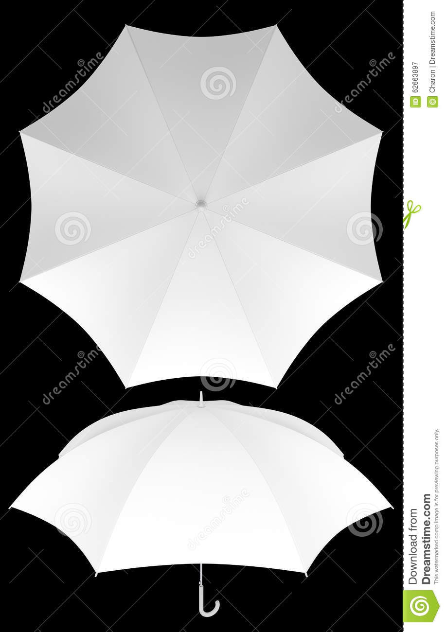 Blank Umbrella Template Isolated D Plain White Graphic Design Empty Top Angled Views