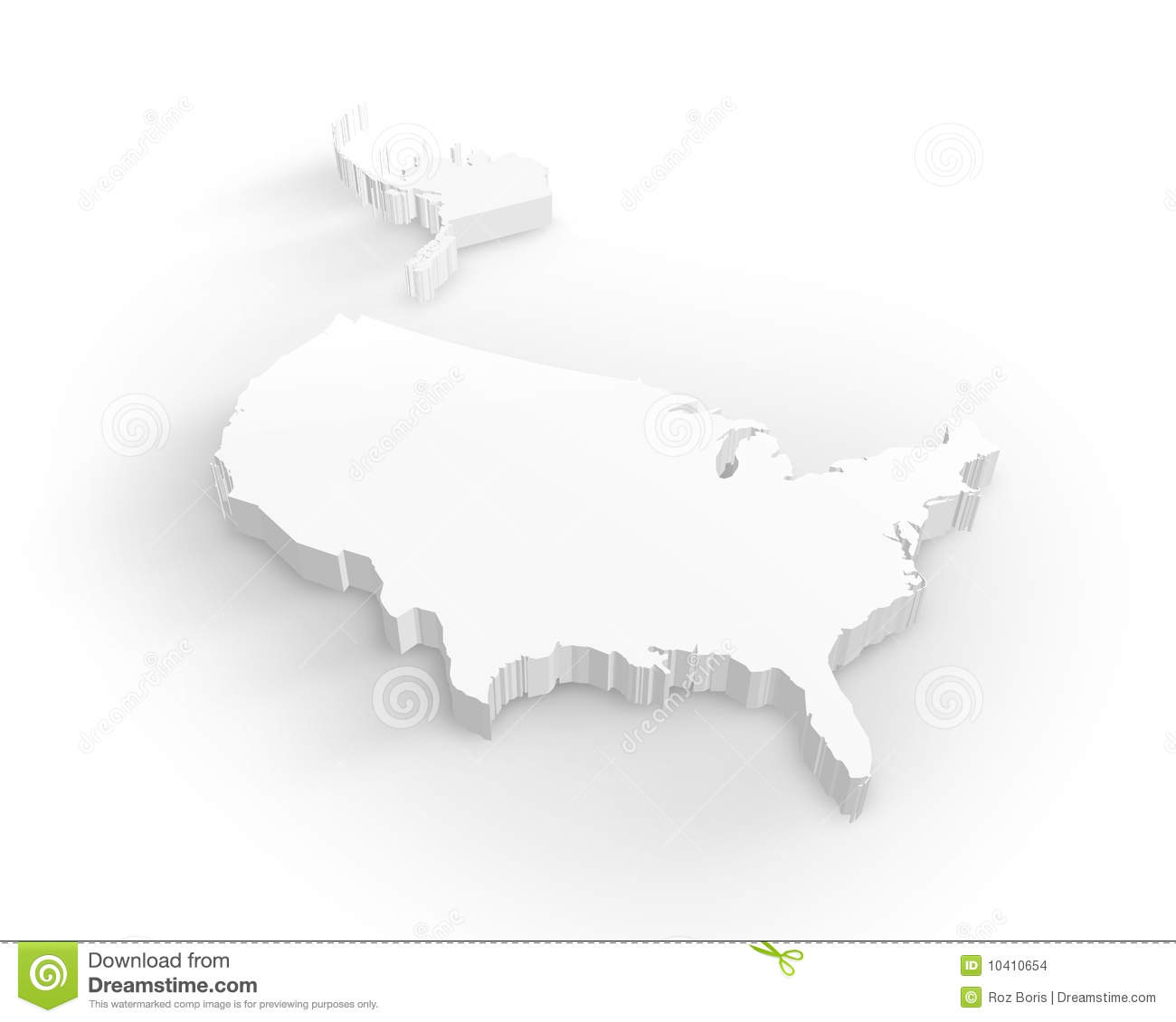 Blank Usa D Map Stock Illustration Image Of Land Hawaii - Us map 3d