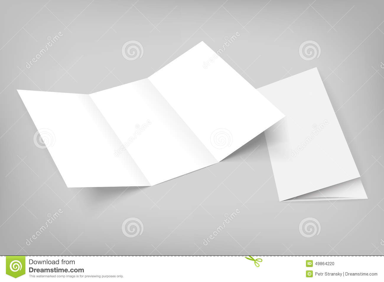 blank vector tri fold mockup on gray stock vector illustration of