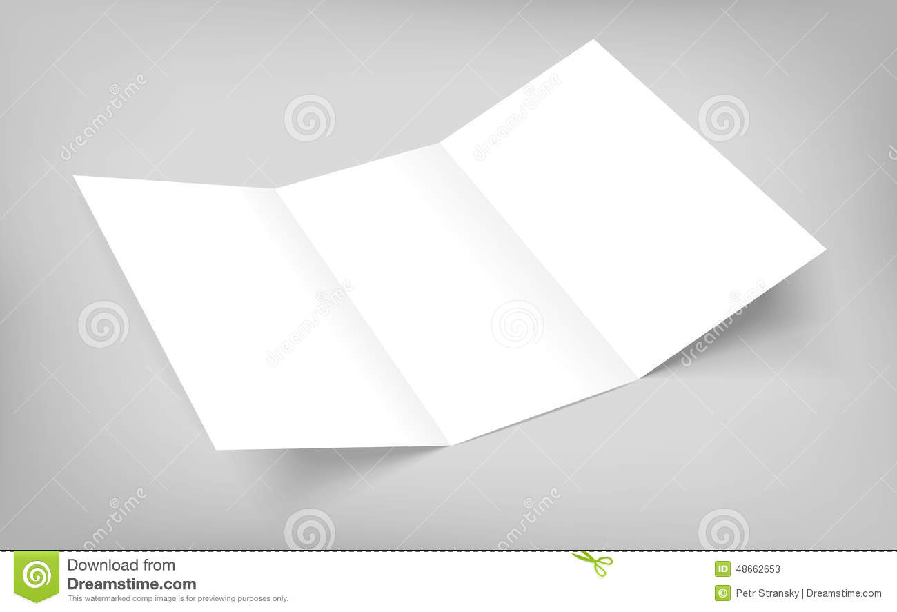 blank vector tri fold paper flyer on gray background stock vector