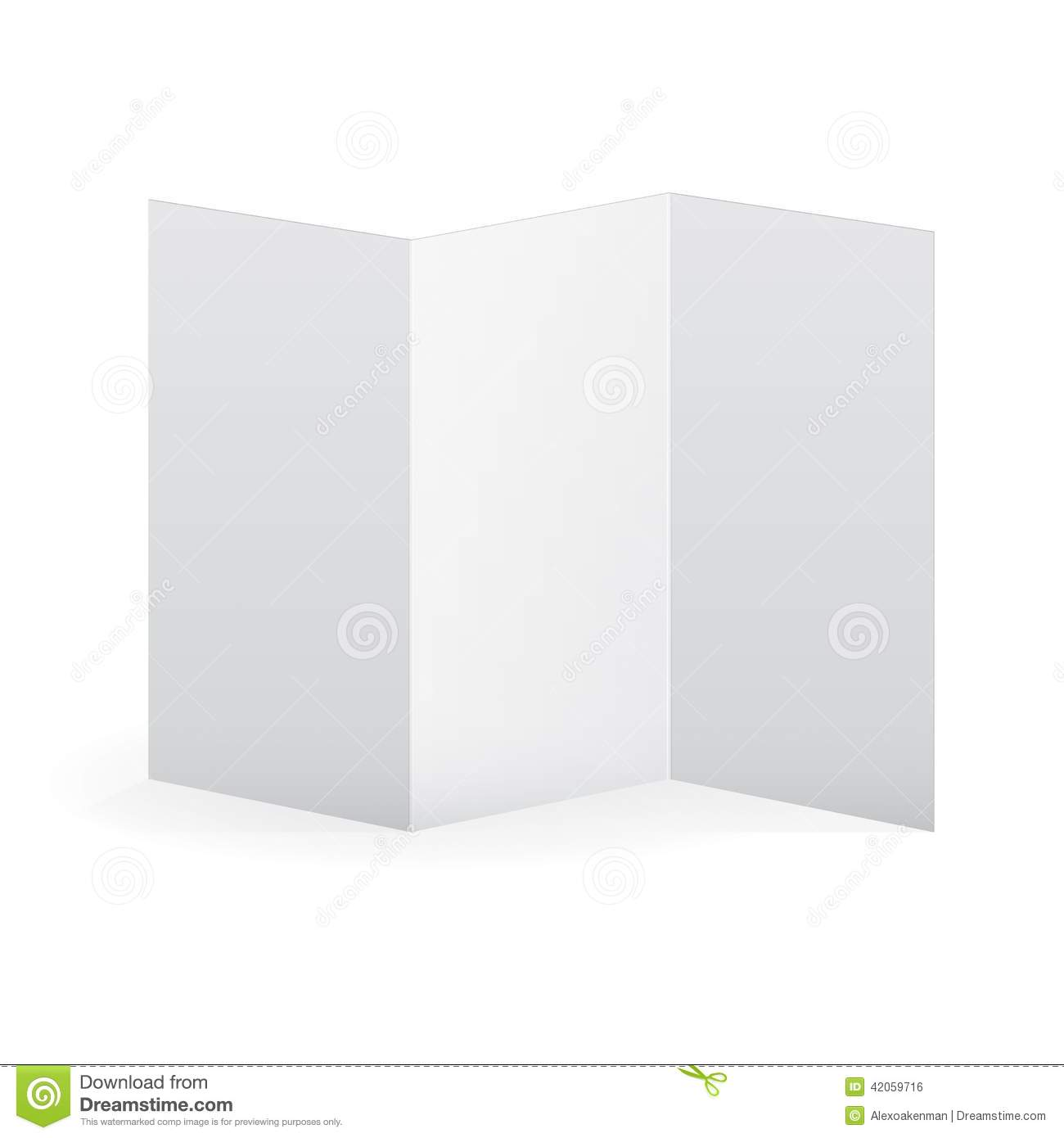 Blank vector white tri fold brochure template stock for Blank brochure templates free