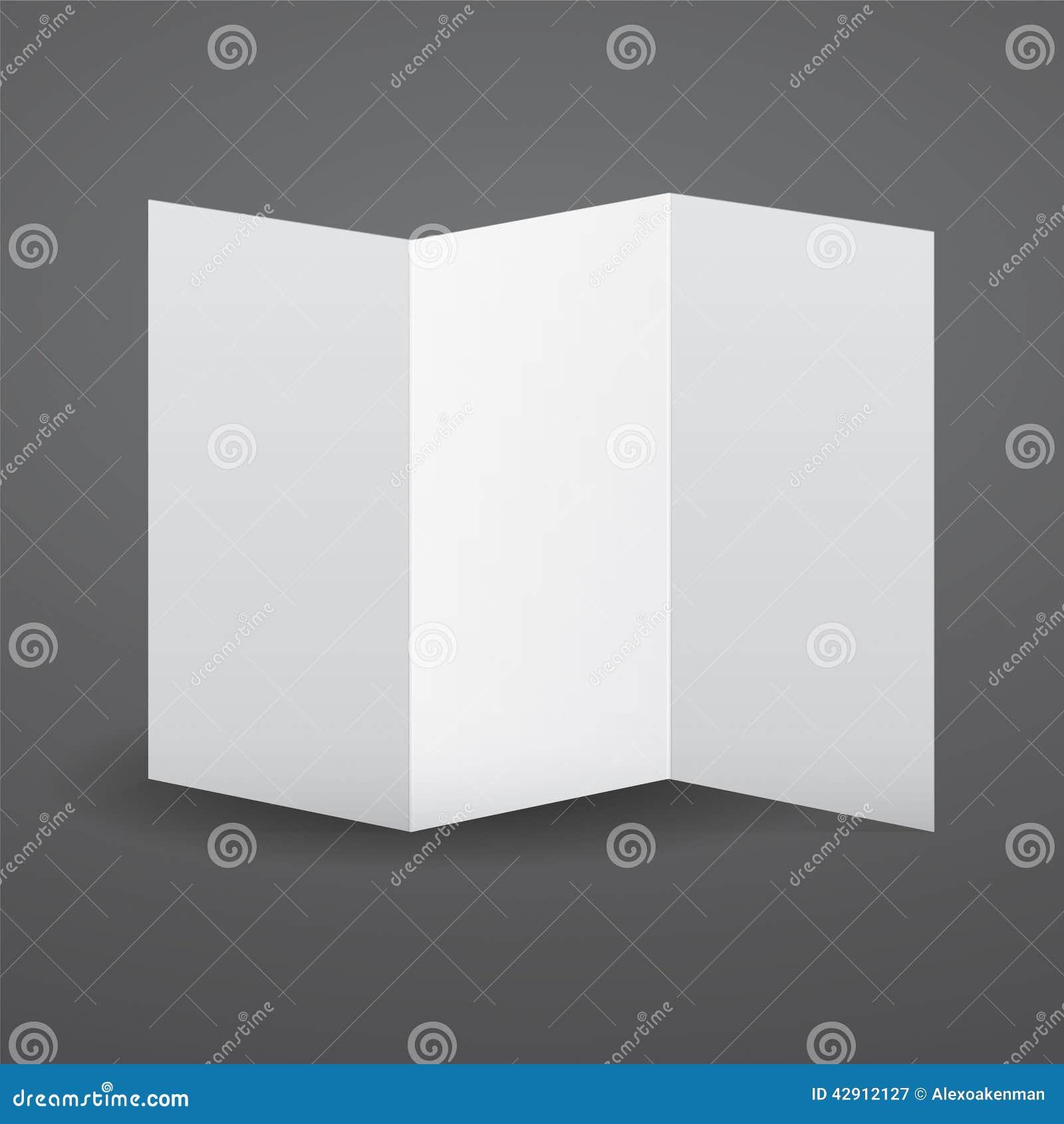 blank vector white tri fold brochure template stock vector image 42912127. Black Bedroom Furniture Sets. Home Design Ideas