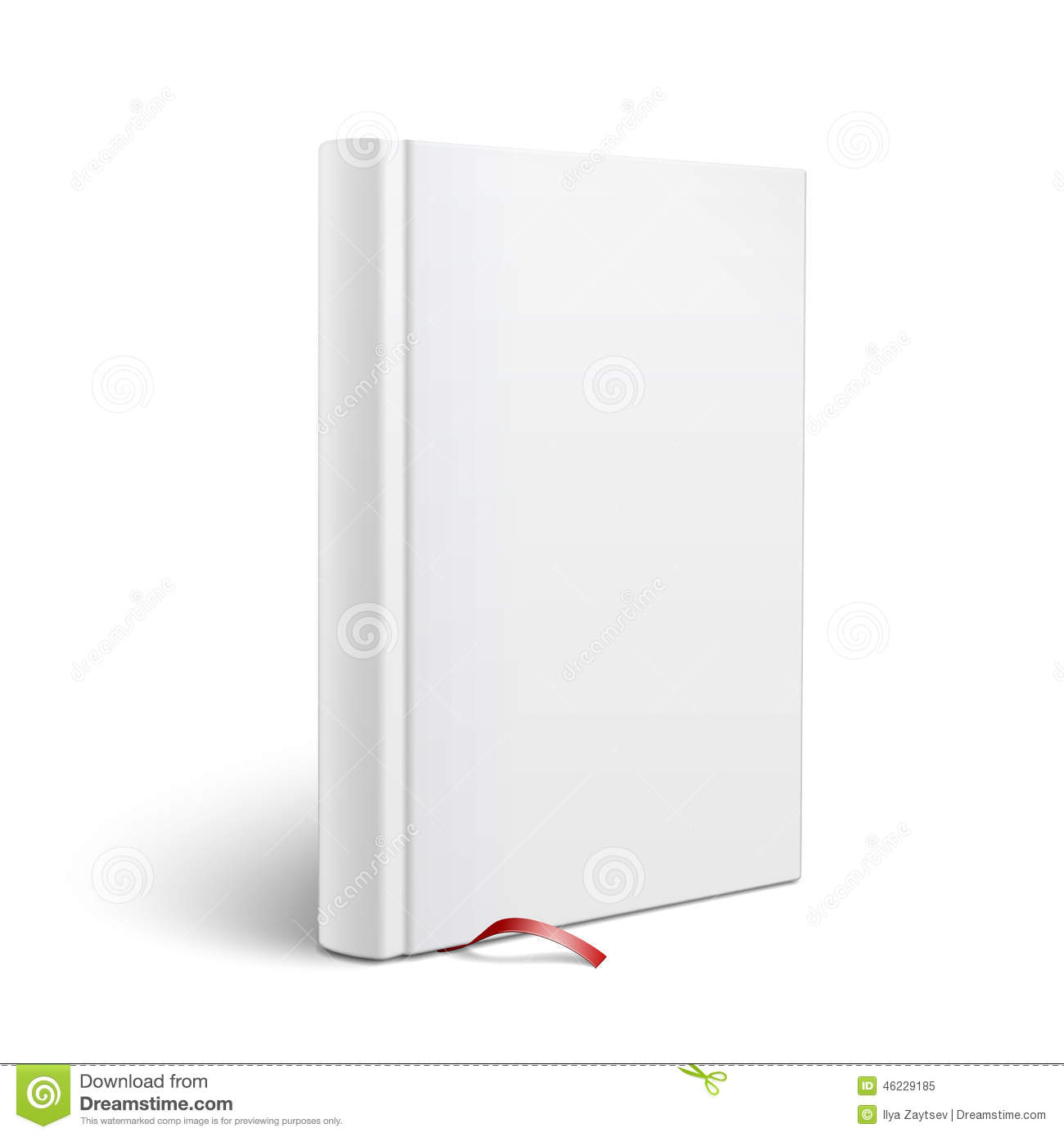 Hardcover Book Cover Template ~ Blank vertical book with bookmark template stock vector