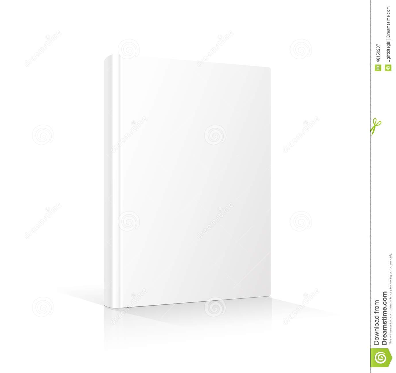 Paper Book Cover Template : Blank vertical book cover template standing on stock