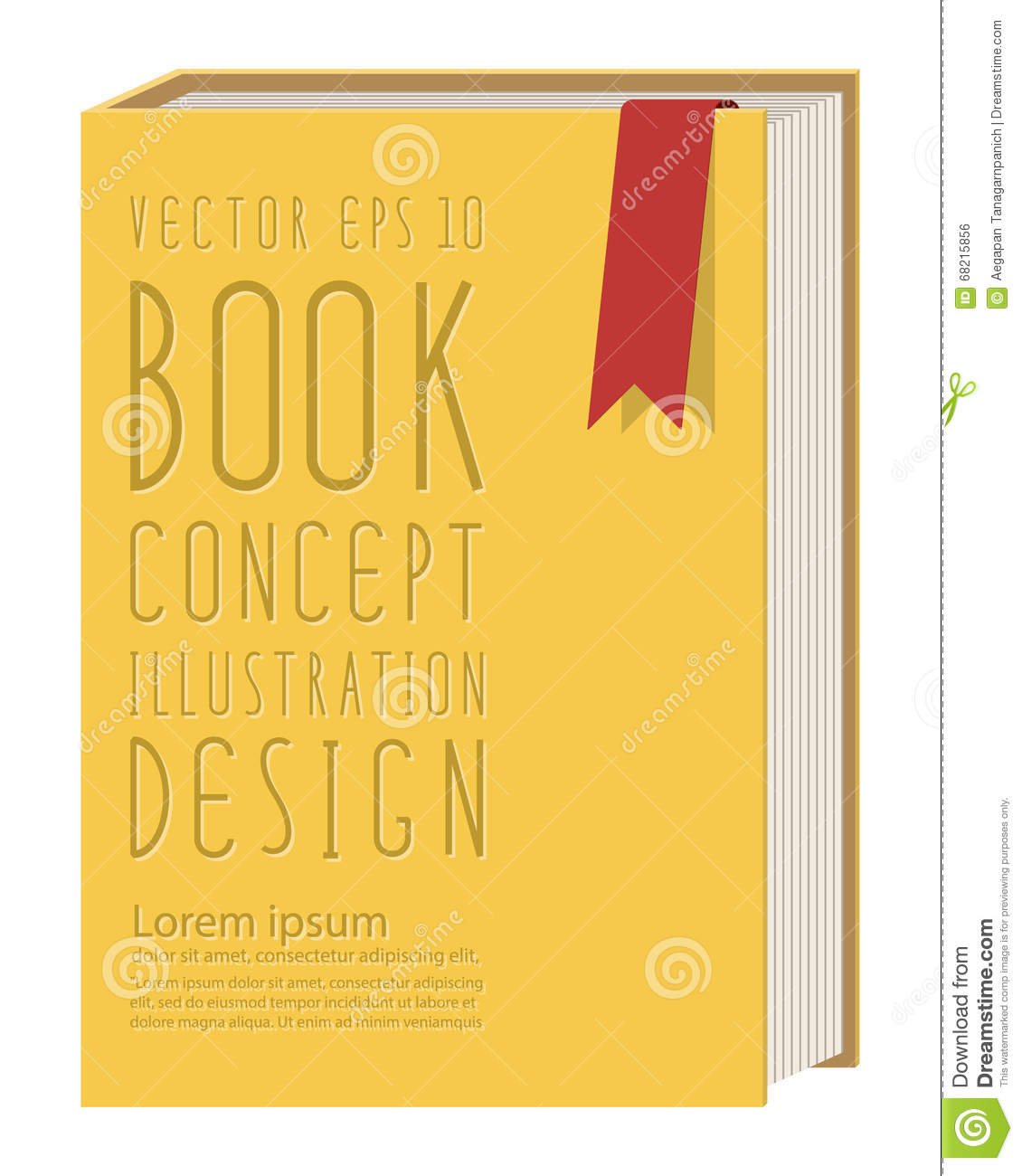 Book Cover Template Eps ~ Blank vertical book cover template standing on yellow