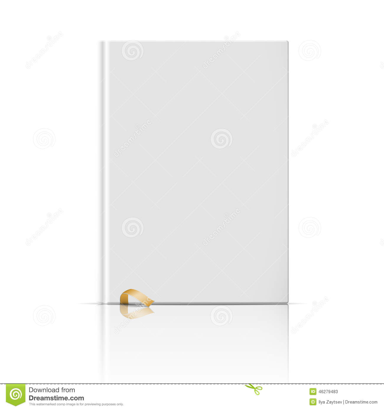 Blank Book Cover Vector Illustration Free : Blank vertical book template with gold bookmark stock