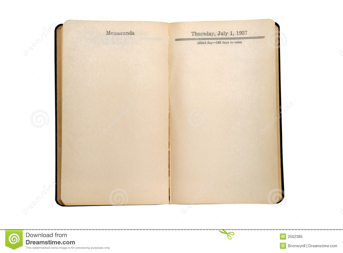 Blank Vintage Day Planner Royalty Free Stock Photo Image