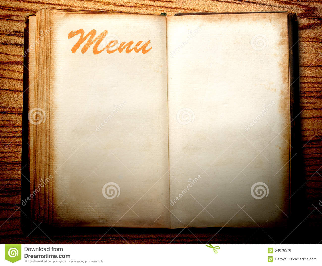 carte menu restaurant vide Blank vintage menu book stock photo. Image of book, blank   54078576
