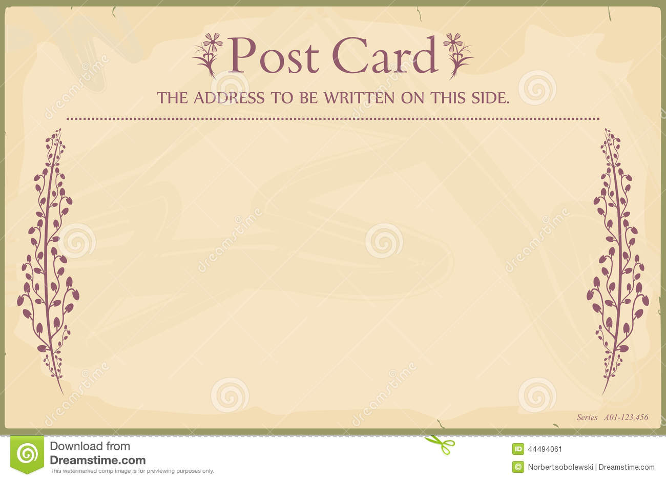 Vintage blank postcard in the style of the early 20th century. Standard size  aspect ratio. Vector base to add any text and textures. No gradients.