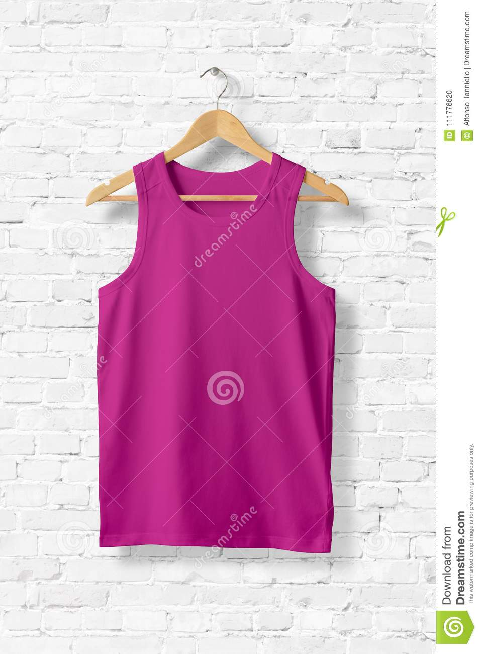 Blank Violet Tank Top Mock-up hanging on white wall.
