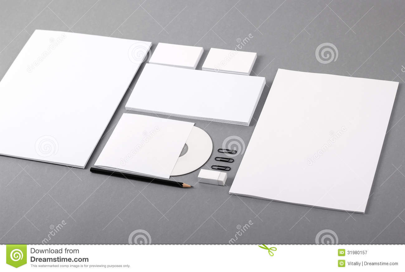 Blank Visual Identity. Letterhead, Business Cards, Envelopes, CD Stock Image