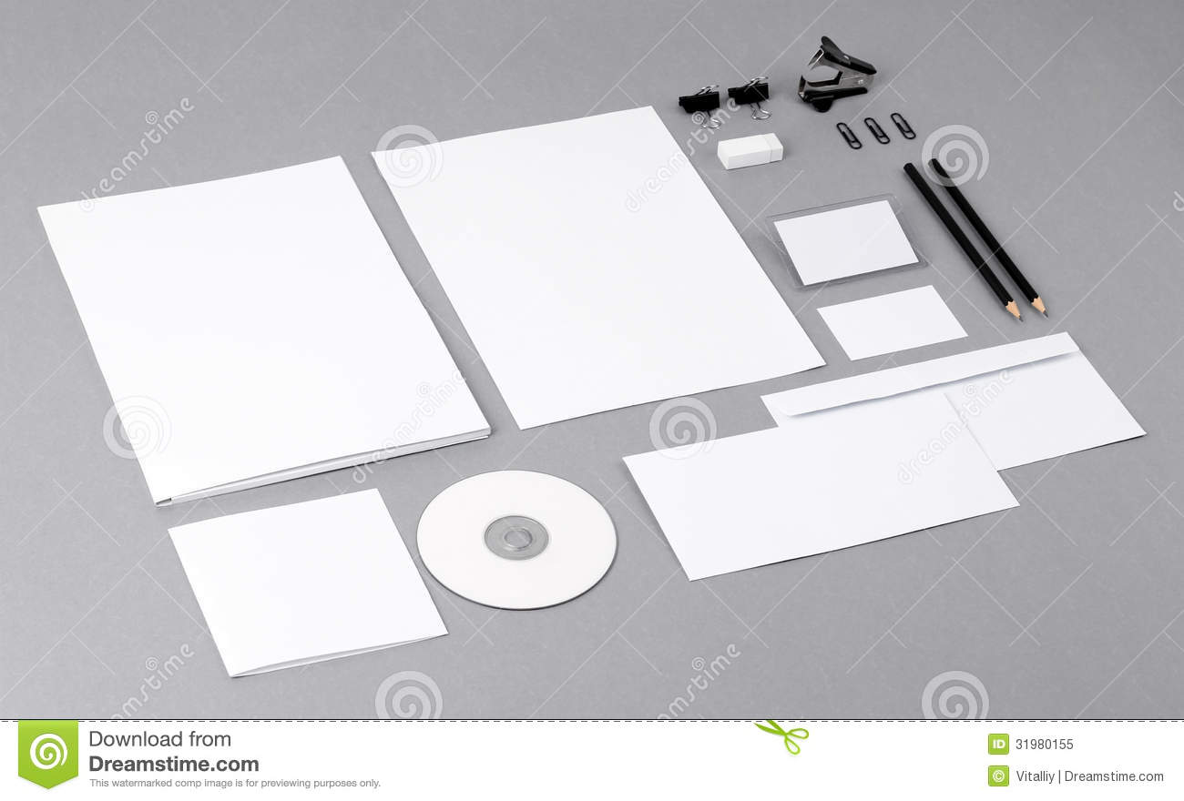 Blank Visual Identity Letterhead Business Cards