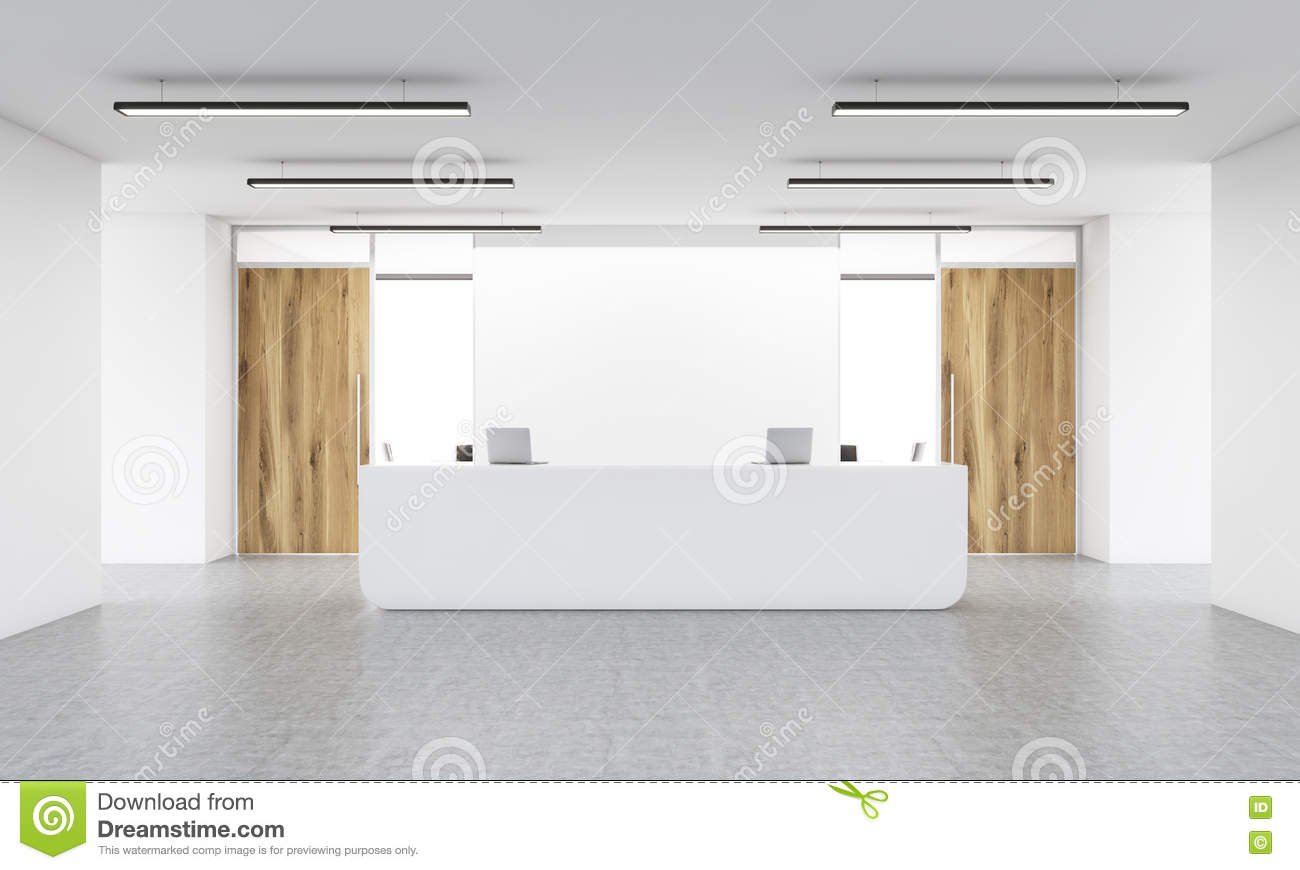 Blank wall and reception stand stock illustration image for What to do with a blank wall