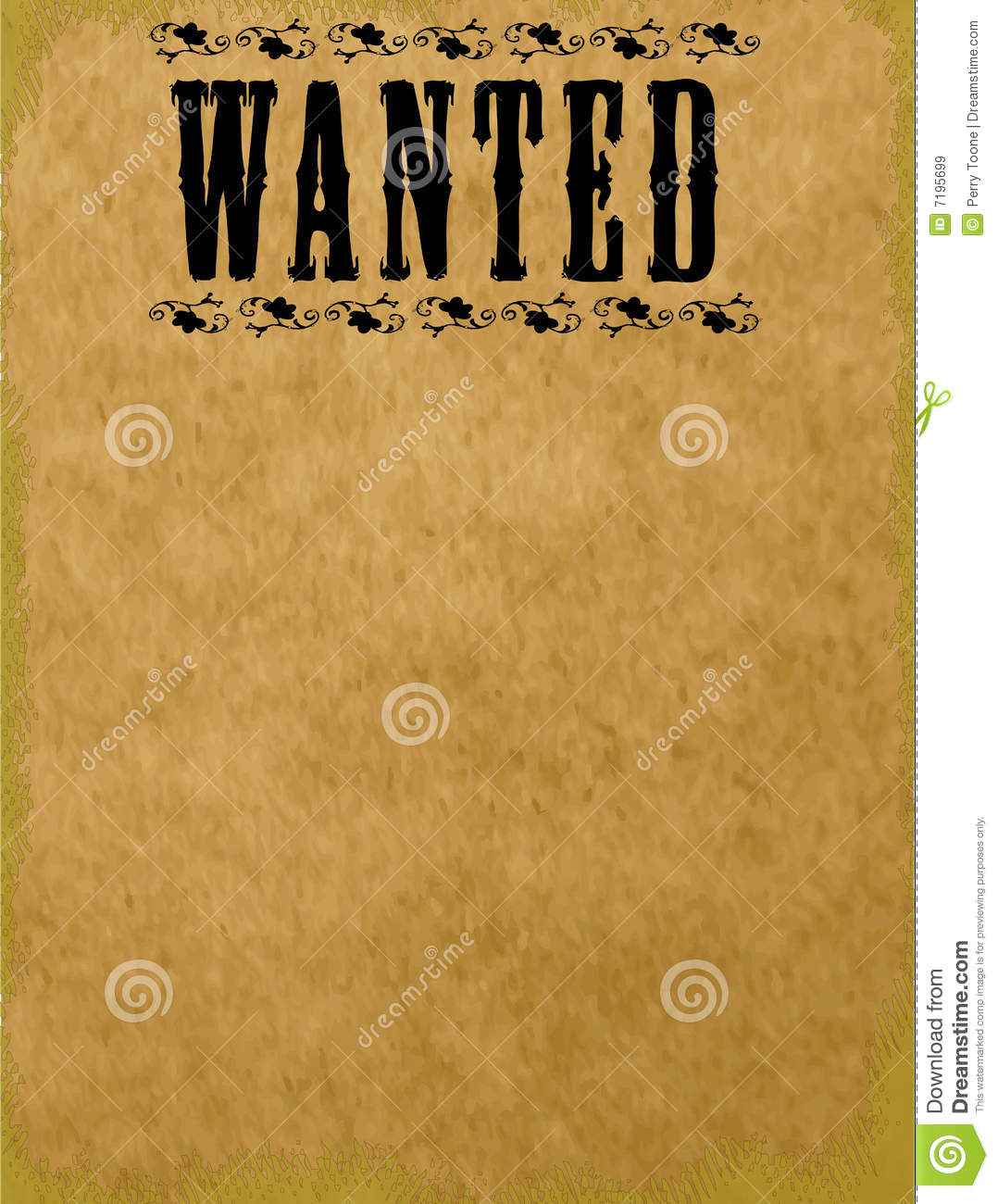 Blank Wanted Poster Royalty Free Images Image 7195699 – Free Printable Wanted Poster