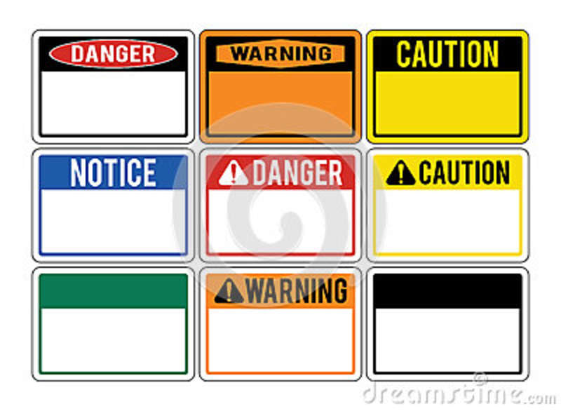 Blank warning signs. Set of warning signs about the dangers. Dan