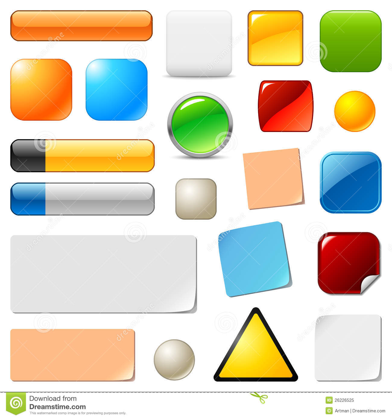 blank web buttons and stickers vector set royalty free
