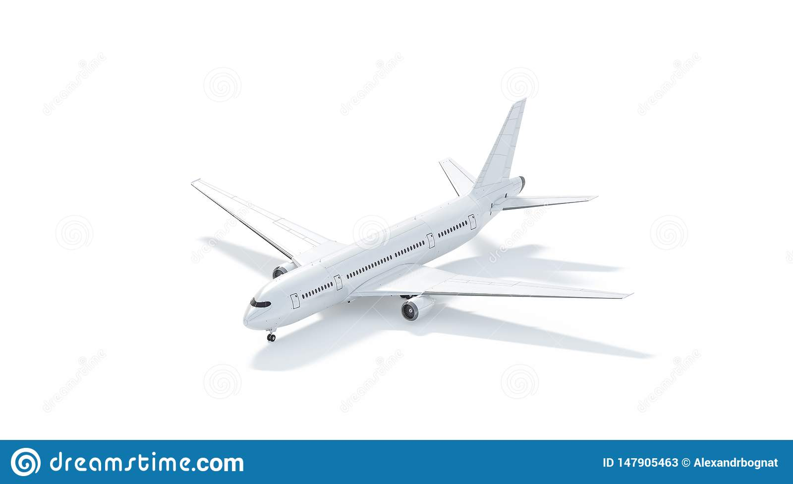 Blank White Airplane Mockup Stand, Side View Isolated Stock