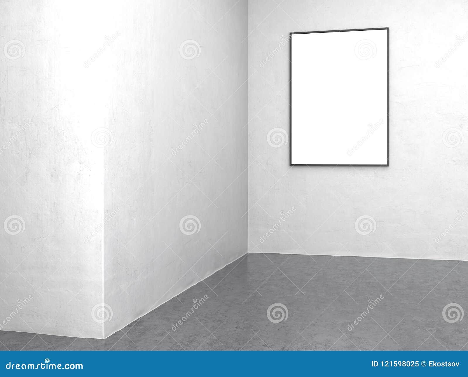 Blank White Banner Against Light Grey Walls, 3d Rendering Stock ...