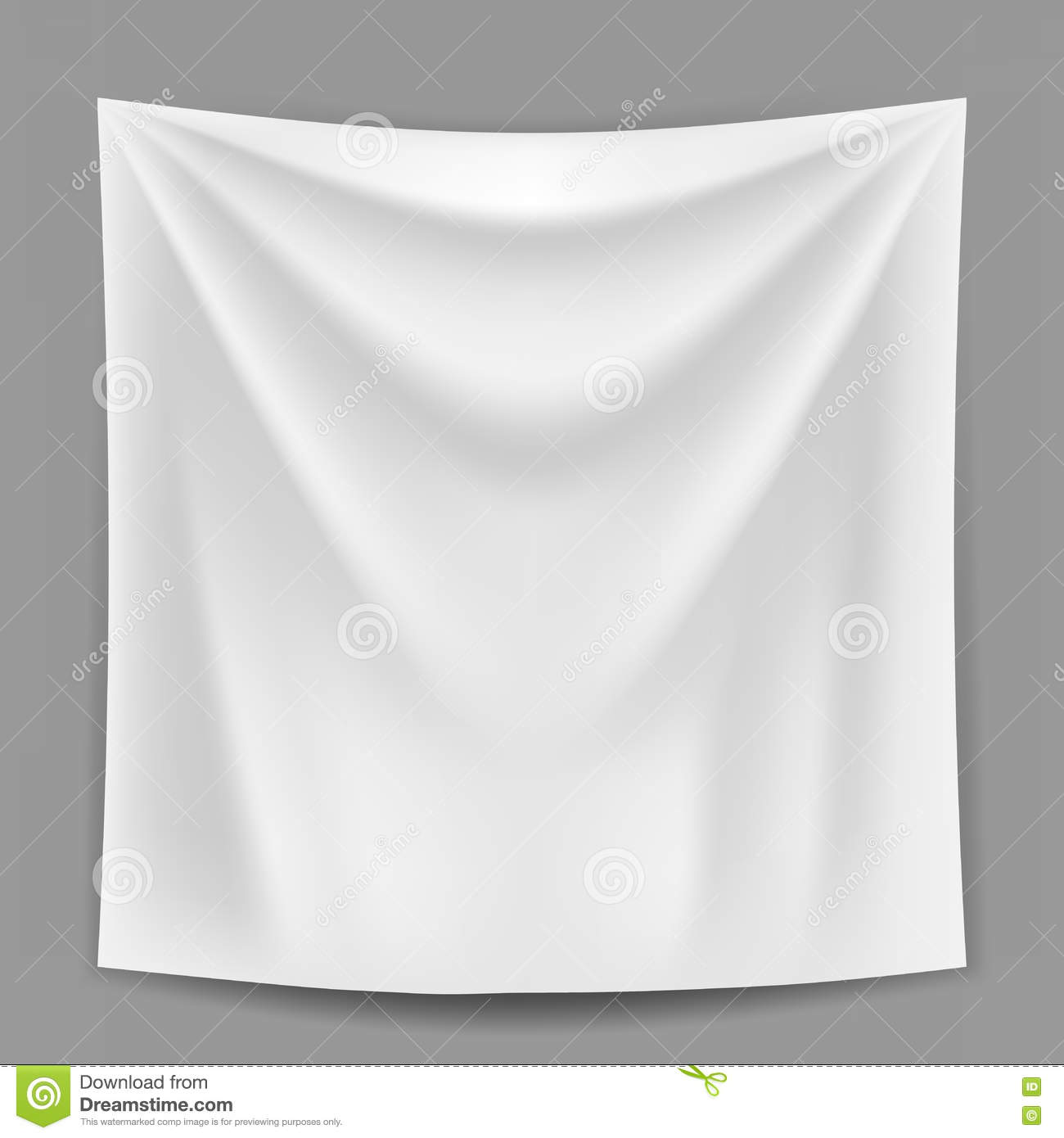 Blank White Banner Hanging On The Grey Wall Template Stock